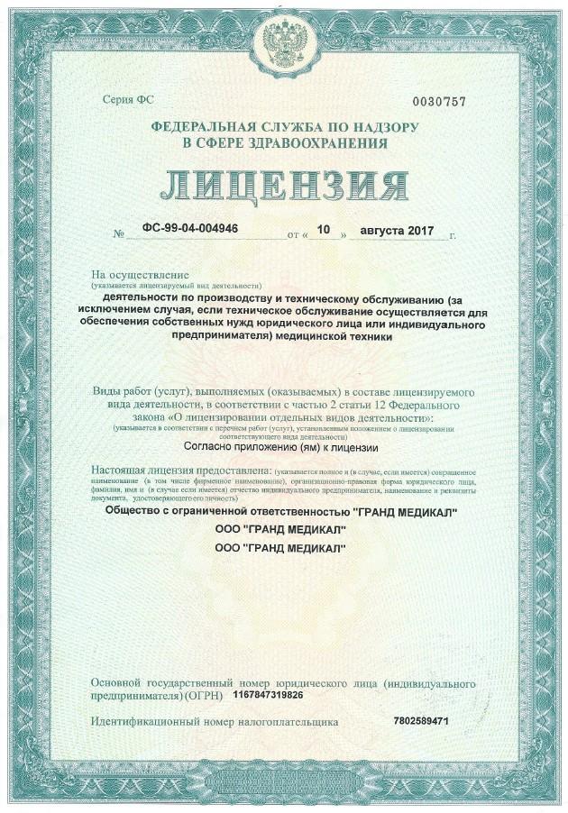 Лицензия ФСН